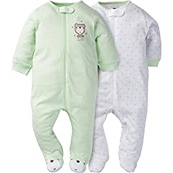 Gerber Baby 2 Pack Zip Front Sleep n Play, Teddy, 6-9 Months
