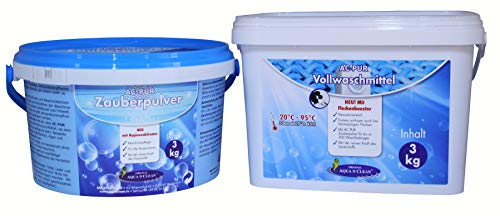 Aqua Clean Pur Zauberpulver 3kg + Vollwaschmittel Neu mit Fleckenbooster 3kg Kombipack