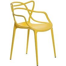 SuperStudio Baby Courve - Pack de 2 sillas en polipropileno para interior/exterior, color amarillo