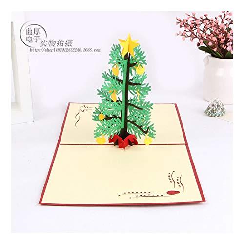ZHOUBIN 2 fogli/set Carving and Hollowing Out 3D Cards/Greeting Cards/Regali di Natale Capodanno/Auguri di compleanno/Albero di Natale a cinque stelle