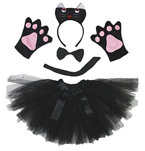 Petitebelle 3D Black Cat Headband Bowtie Tail Gloves Tutu 5pc Children Costume (One Size)