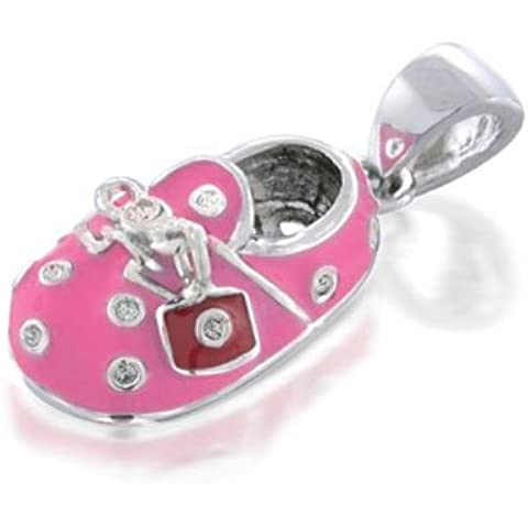 Bling Jewelry Smalto di colore rosa CZ pattino di bambino del pendente di fascino con Red Charm