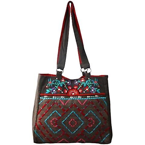 decorativa bolsa de hombro moldeada hecha a mano de la lona de algodón indio accesorios de gran gitano boho materiales de las mujeres de color caqui bolsa de la compra