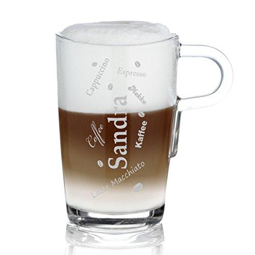 polar-effekt Leonardo Kaffeebecher mit Henkel Personalisiert mit Gravur - Latte-Macchiato Glas 365ml - Kaffee-Glas Geschenkidee zum Geburtstag - Motiv Kaffeespezialitäten