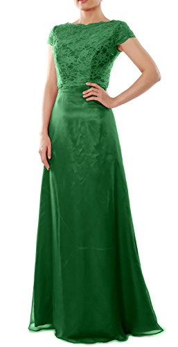 MACloth Elegant Cap Sleeve Long Bridesmaid Dress Wedding Party Gown with Jacket (34, Green)