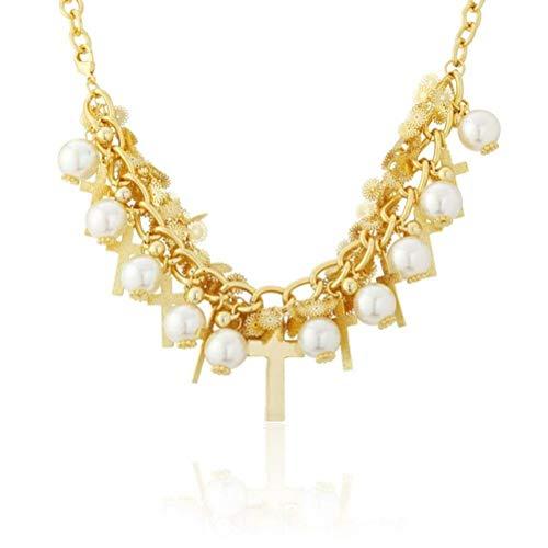 MingXinJia Kreuz Religion Zink Legierung Halskette & Anhänger Vergoldete Halskette, Weiß