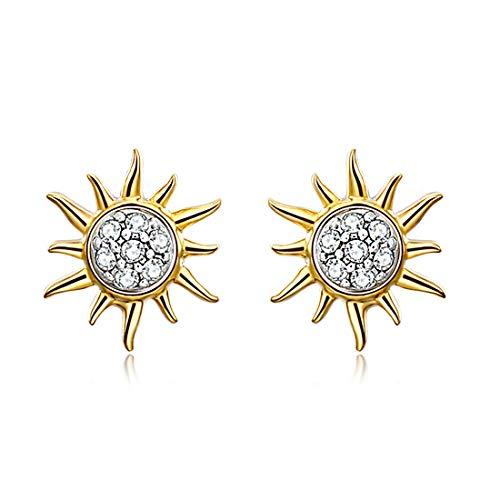 Ohrringe Silber 925, E Jewelry Sonne Serie Damen Ohrstecker 925 Sterling Silber Ohrringe 18K Gold Plattiert Ohrhänger 3A Zirkonier Stecker Ohrschmuck Geschenk,...