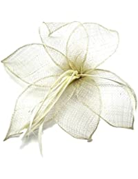 Cream Sinamay Leaf and Feather Beak Clip Brooch Corsage Fascinator