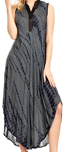 Sakkas 17713 - Olivia Leichtes ärmelloses Krawattenkleid mit Mandarinkragen - Grau/Schwarz - OS