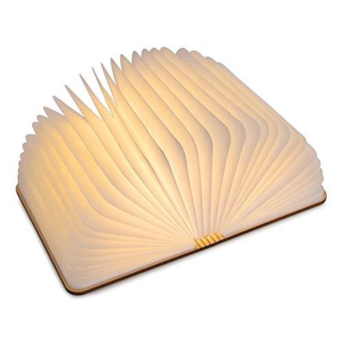 Hölzerne faltende Buch-Lampe, magnetisches LED-Licht, Tischlampe Nachttischlampe Dekorative Warmweiß Lampen mit USB Wiederaufladen, aus Wasserdichtes Papier + Holz Einband (Hölzerne Lampe)