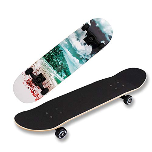 Professionelle Skateboarden, Vier-Rad-Doppel-Rocker, Erwachsene Männliche Und Weibliche Anfänger Maple Skateboard, Brush Street Reisen Tricks (Color : B)