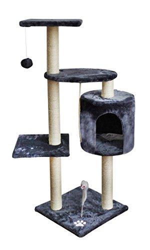Katzenbaum Kratzbaum Spielbaum Kletterbaum Katzen Luxus #1979, Farbe:Grau-Weiß