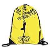 Drempad Tunnelzug Rucksäcke, Zen Meditation Yoga Girl Tree Patterned Themed Printed Drawstring...