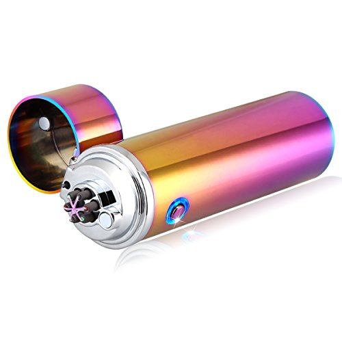QIMAOO - Mechero electrónico USB recargable con triple arco eléctrico sin llama, para encender cigarrillos o llevar de acampada, arcoiris