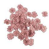 IPOTCH 50 teilig Kunstblumen Set Stoffblumen Blütenköpfe Künstliche Blumenköpfe Tischdeko Taufe Kommunion Blumen Hochzeit Geburtstag Party Dekoration - Altrosa