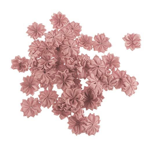 IPOTCH 50 teilig Kunstblumen Set Stoffblumen Blütenköpfe Künstliche Blumenköpfe Tischdeko Taufe Kommunion Blumen Hochzeit Geburtstag Party Dekoration - Altrosa (Mittelstücke Partys Ideen Für)
