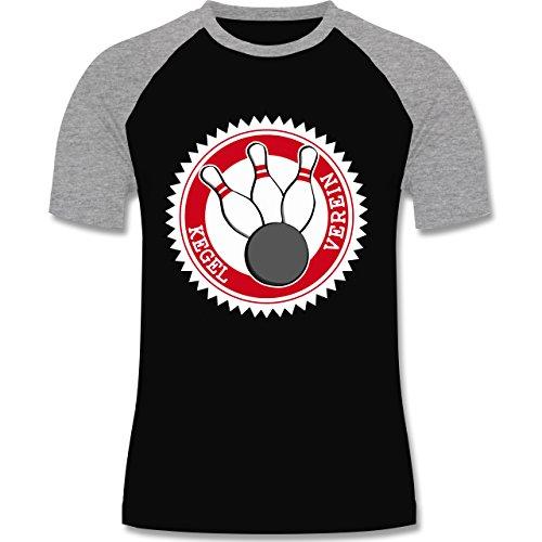 Bowling & Kegeln - Kegel Verein Badge Abzeichen - zweifarbiges Baseballshirt für Männer Schwarz/Grau Meliert