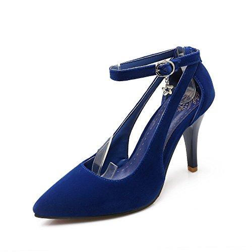 AllhqFashion Femme à Talon Haut Couleur Unie Boucle Dépolissement Pointu Chaussures Légeres Bleu