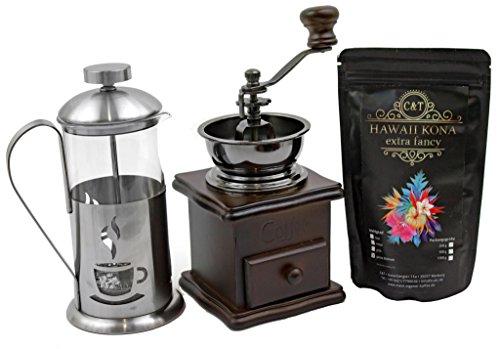 """Kaffee Geschenk-Set mit 100 g edlem Raritäten-Kaffee """"Hawaii Kona Extra Fancy"""" Ganze Bohnen, Retro-Kaffeemühle und Stempelkanne 350 ml für Genießer im blauen Geschenkkarton"""