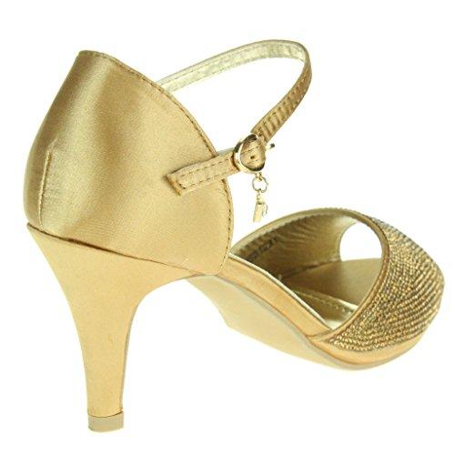 Femmes Dames Diamante Soir Mariage Fête Bal de promo De mariée Milieu Talon haut Sangle de cheville Des sandales Chaussures Taille Or.