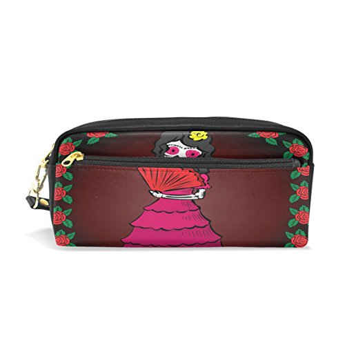 Bleistift Fall, Mexiko Skull Girl Rose bedruckt Reise Make-up Pouch Large Wasserdicht Leder 2Fächer für Mädchen Jungen Damen Herren (Mexiko-handy-fällen)