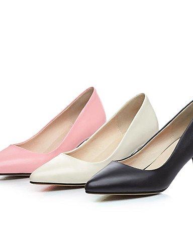 WSS 2016 Chaussures Femme-Bureau & Travail / Décontracté-Noir / Rose / Beige-Talon Cône-Talons / Bout Pointu-Chaussures à Talons-Cuir beige-us5 / eu35 / uk3 / cn34