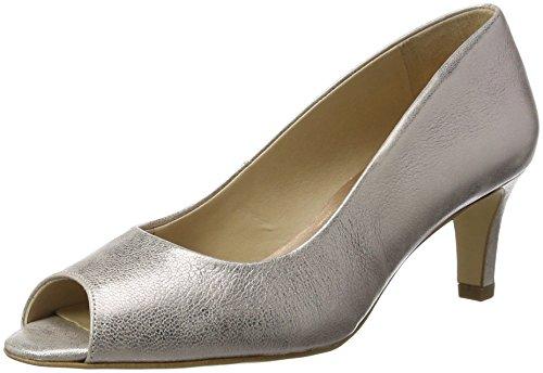 Van Dal Women Norton Open-Toe Heels,Silver/Rose Gold, 4 UK 37 EU