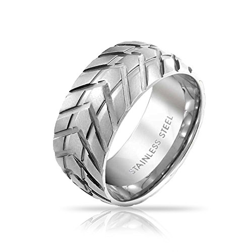 Bling Jewelry Mens-Band-Ring Reifenprofil Grooved Radfahrer-Motorrad-Art-Edelstahl gebürstet