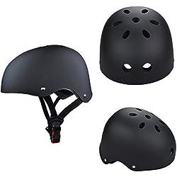 Casque de Skateboard, SymbolLife Casque de Vélo et Véhicule Casque de Ski enfant ABS Protections de Réglable Protecteur de Cyclisme BMX Roller pour Adolescent Adulte, Taille S, Noir