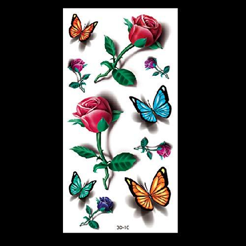 HXMAN 3d Schmetterling Tattoo Abziehbilder Körper Kunst Aufkleber Fliegen Schmetterling Wasserdichte Papier Temporäre Tattoo Obst Tier Blume Tattoo(2 Pack) 3D-10