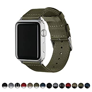 Archer Watch Straps   Premium Nylon Replacement Bands for Apple Watch (Olive, Stainless, 42mm)