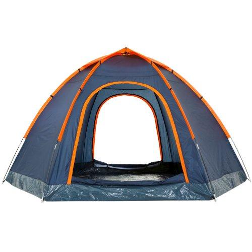CampFeuer - Hexagon Campingzelt, Sechseckzelt, großes Kuppelzelt, blau / orange, 3000 mm Wassersäule -