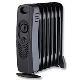 Aerials, Satellites and Cables 700w black 700W Oil Filled Radiator Heater Metal Construction - Black by Aerials, Satellites and Cables