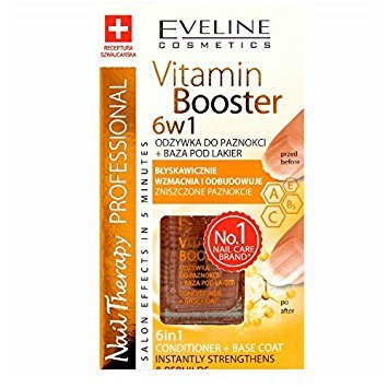 Eveline Cosmetics Vitamin Booster 6in1 Nagelconditioner, Lackbasis mit Vitaminen A,C, 1er Pack (1 x 12 ml)