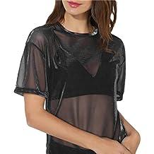 Modfine Mujer Camiseta Blusa Gasa Malla Mangas Largas Elegante Oficina Casual Cuello Pico 8DpkiT