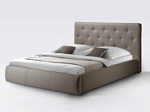 CAVADORE Kunstleder Bett mit Stauraum CLARA in Beige/Qualitativ hochwertiges Funktionsbett aus Kunstleder mit gestepptem Kopfteil / 160 x 200 cm breit