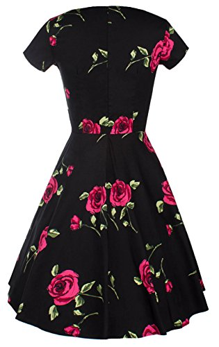 U-Shot Femme Floral à manches courtes rétro Rockabilly Pinup Cocktail Party Dress red
