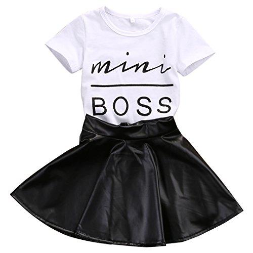 Baby-Mädchen-Kleinkind-kleines Mädchen-Kurzschluss-Hülsen-Oberseiten-Hemd + Leather Rock 2Pcs kleidet Satz-Anzug (1-2 Jahre)