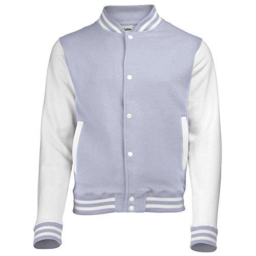 AWDis Herren Varsity Jacke Langärmlige Jacke - Grey / white sleeves