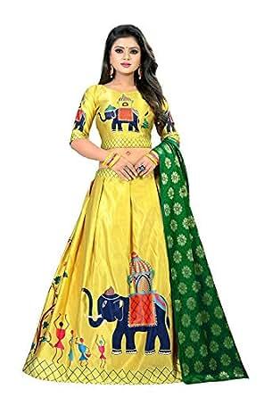 Radhe Creation Printed Lahengha Choli for womens - LATEST gown style Lahengha Choli for ladies - Printed long anarkali fancy Lehenga choli (Unstitched)