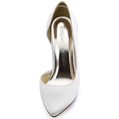 ElegantPark HC1601 Chic Escarpins Satin Femme Talon Haut Aiguille Bout Pointu D'orsay Chaussures de mariee Soiree Ivoire