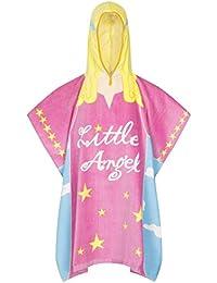 Calidad 100% ropa de descanso para niñas de algodón para niños Poncho con capucha bolsa de natación con cierre toalla de baño, diseño de ángel de