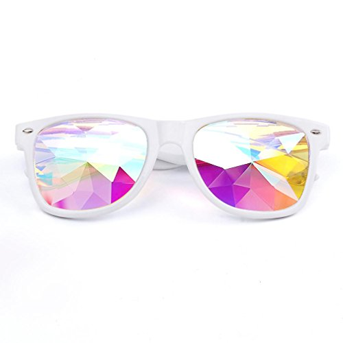 Kaleidoscope Gläser ,Frashing Kaleidoskop Brillen, Kaleidoskop Gläser Rave Festival Party EDM Sonnenbrille gebeugt Objektiv (Weiß)