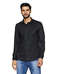 Indian Terrain Mens Printed Regular Fit Casual Shirt (ITA17SHD621_Black_M)