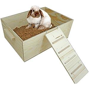 [Gesponsert]Elmato 12090 Buddelkiste Kaninchen Hasen XL (Buddelkiste XL mit Leiter und Sand)