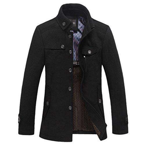 OCHENTA invernale da uomo, Casual stand colletto lana cappotto trench Black