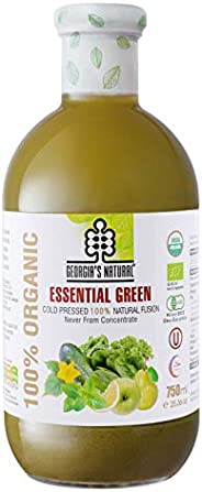 Georgia's Natural 100% Organic Cold Pressed Essential Green Juice, 750 ml