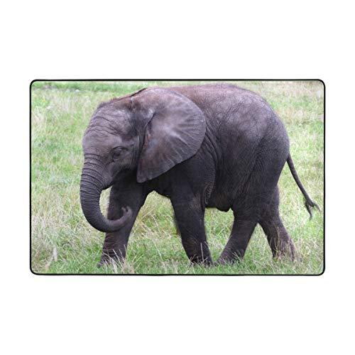 LUPINZ Tier-Elefanten-Rasen-Teppich, rechteckig, Einstieg, Fußmatte, Anti-Curling hält Ihren Teppich an Ort und Stelle, Macht Ecken flach, ideal rutschfeste Teppiche, Polyester, 1, 36 x 24 inch - Elefanten-rechteckiger Teppich