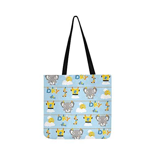 Vektor Cartoon nahtlose Muster Elefant auf Leinwand Tote Handtasche Schultertasche Crossbody Taschen Geldbörsen für Männer und Frauen Einkaufstasche