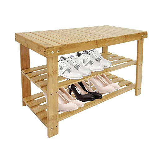 Todeco - Organizador de Zapatos de Bambú, Unidad de Estantería de Bambú de 3 Niveles - Material...
